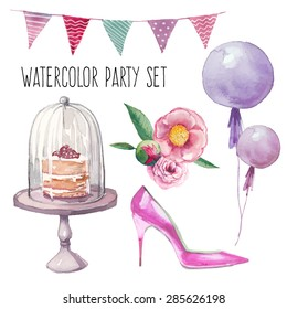 Watercolor modern elegant wedding style set.  Various objects: bride bouquet with roses, peony, pink shoes, naked cake, air balloons, pattern flags garland. Hand painted design set.