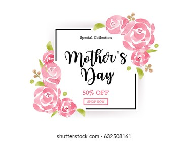 WaterColor Mother's day greeting card with flowers background for for banners,Wallpaper, invitation, posters, brochure, voucher discount.
