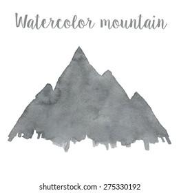 Watercolor mountain in vector
