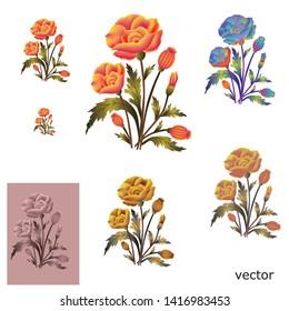 watercolor mughal flower bunch motif