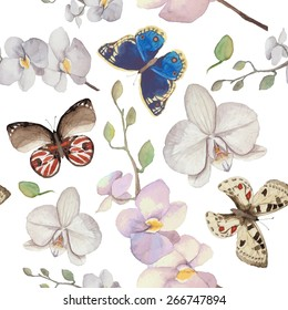 2795e6521 Watercolor natural pattern with orchid flowers and butterfly. Seamless  texture with floral and herbal elements