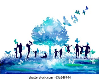 Watercolor Nature tree and Silhouettes of the family. Vector.