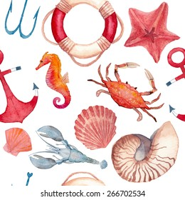 Watercolor nautical pattern. Seamless texture with hand painted sea objects: starfish, shells, lifebuoy ring, anchor, lobster, crab, sea horse. Vector nautical background