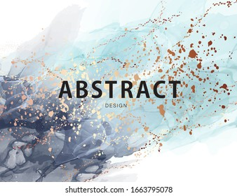 Watercolor navy gold background, marble liquid texture luxury wallpaper. Chic abstract blue business card, pastel pigment pattern. Contemporary 2020 poster vector.