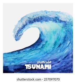 Watercolor ocean tsunami waves. Big blue water.