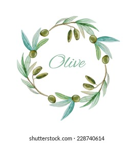 Watercolor olive branch wreath background. Hand drawn natural vector frame.
