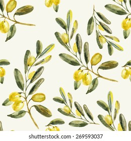Watercolor olive seamless pattern. Hand drawn natural vector illustration.