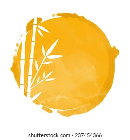 Watercolor orange circle paint stain and white bamboo trees silhouettes. Stamp, icon isolated on a white background. Abstract art. Logo design