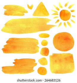 Watercolor orange, yellow, sun, moon, abstract brush strokes, stripes, lines,  paint stains, triangle, square, frames isolated on white background. Hand painting on paper. Art design elements set