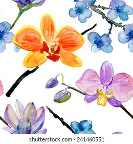 watercolor orchid and sakura flowers  pattern. Vector illustration.