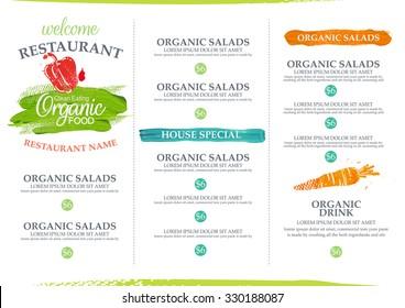 Watercolor organic restaurant menu design.