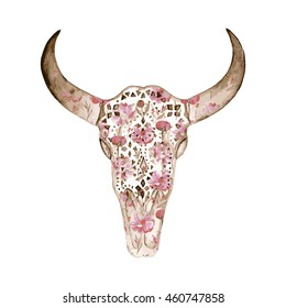 Watercolor ornamental skull with peony pattern. Decoration motif for tattoo, wallpaper, wrapping, cards, halloween decor. Vector illustration