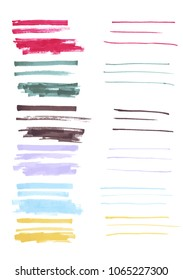 Watercolor Paint Ink Brush Color Strokes Vector