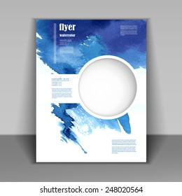 watercolor painted  background design, business corporate brochure template flyer layout, vector illustration