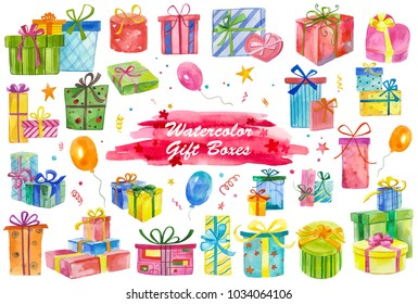 Watercolor painted collection of gift boxes. Hand drawn holiday design elements isolated on white background.