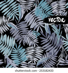 Watercolor painted floral design. seamless pattern Dark tropical jungle. vector floral on a dark background. painted palm leaves. monochrome Tropical Flowers.