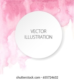 Watercolor painted light pink background with white space for text. Vector illustration for wedding, birhday, greetings cards, web, print, scrapbooking