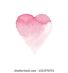 Watercolor painted pink heart, vector element for your design.