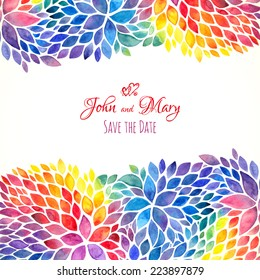 Watercolor painted rainbow colors vector invitation template
