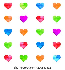 Watercolor painted seamless vector heart