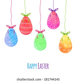Watercolor painted vector Easter eggs