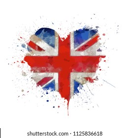 Watercolor painted vector Heart Shape flag of United Kingdom. I Love Great Britain. Red and blue isolated symbol of UK