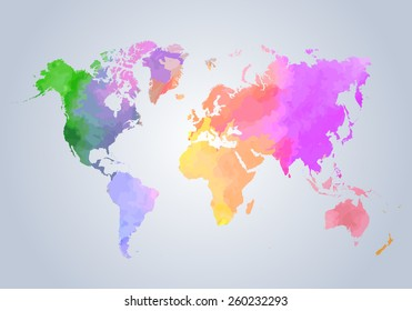 Watercolor painted world map on white background - vector illustration.
