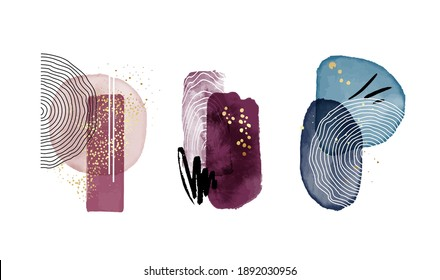 Watercolor painting aesthetic background. Home decoration set, simple violet navy design. Rectangle square shapes, minimal abstract template. Modern bauhaus line art