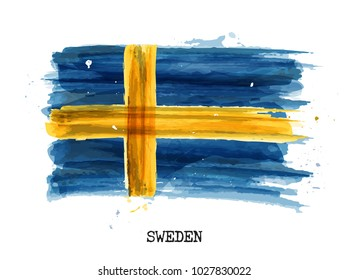 Watercolor painting design flag of Sweden . Vector .
