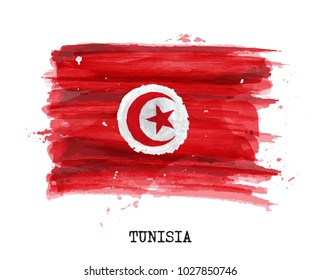 Watercolor painting design flag of Tunisia . Vector .