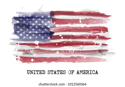 Watercolor painting flag of america . Vector .