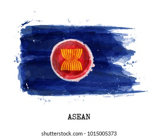Watercolor painting flag of ASEAN community ( Association of Southeast Asian Nations ) . Vector .