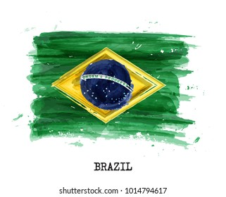 Watercolor painting flag of Brazil . Vector .