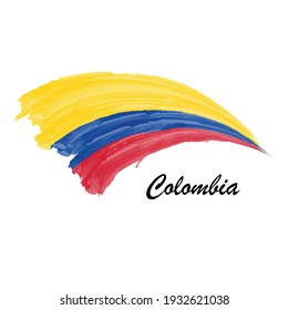 Watercolor painting flag of Colombia. Hand drawing brush stroke illustration