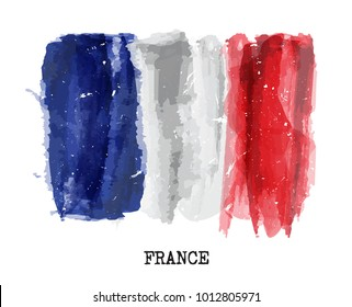 Watercolor painting flag of France . Vector .