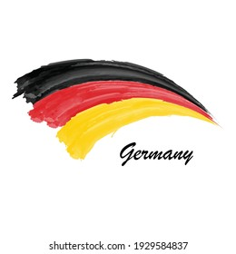 Watercolor painting flag of Germany. Hand drawing brush stroke illustration