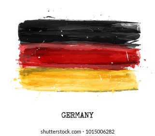 Watercolor painting flag of Germany . Vector .