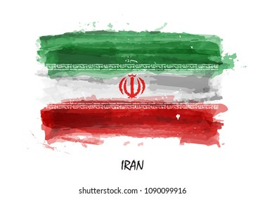 Watercolor painting flag of Iran . Vector .