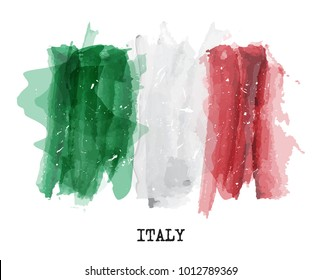 Watercolor painting flag of italy . Vector .