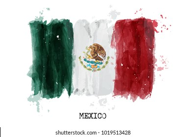 Watercolor painting flag of Mexico . Vector .