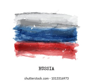 Watercolor painting flag of Russia . Vector .