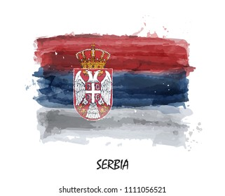 Watercolor painting flag of Serbia . Vector . ( Not auto trace . Use watercolor brush )