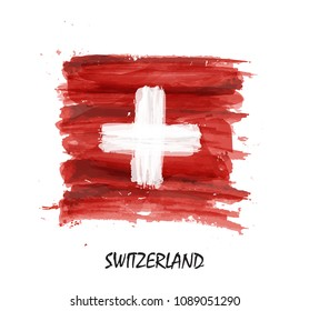 Watercolor painting flag of Switzerland . Vector .