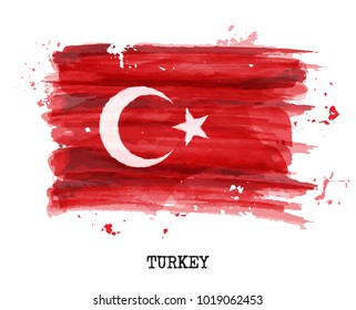 Watercolor painting flag of Turkey . Vector .