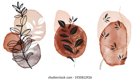 Watercolor painting shapes Beige aquarelle ink, pastel neutral pastel frames, black silhouette leaves minimalistic design. Nude gold blush geometric design vector