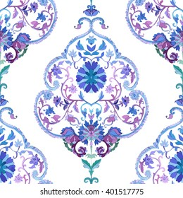 Watercolor Paisley Seamless Background on White. Cold Colors. Indian, Persian or Turkish Art.