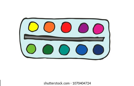 Watercolor palette. Hand-drawn doodle art supply icon. Vector illustration.
