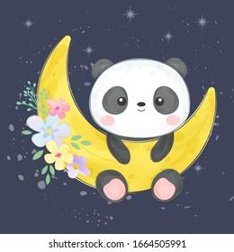 watercolor panda illustration, animal clipart, baby shower decoration, woodland illustration.