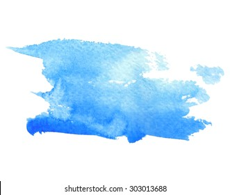 Watercolor paper texture hand drawn blue isolated stroke stain on white background. Wet brush painted smudges abstract vector water illustration. Artistic design element for decoration, web, banner