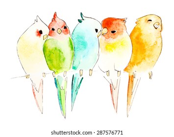 Watercolor parrots on branch, vector